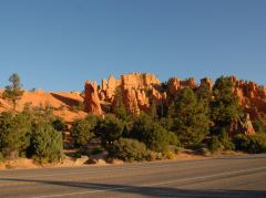 Morgensonne im Red Canyon unterwegs zum Bryce Canyon, Utah