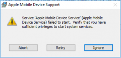 Error message while installing tethering support for iPhone on Windows